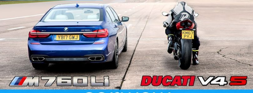 BMW M760 vs new Ducati Panigale V4 – DRAG RACE | Head-to-Head